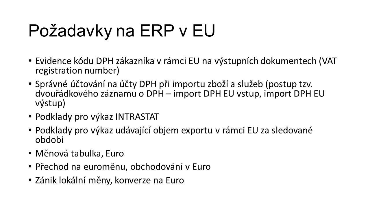 Požadavky na ERP v EU Evidence kódu DPH zákazníka v rámci EU na výstupních dokumentech (VAT registration number) Správné účtování na účty DPH při importu zboží a služeb (postup tzv.