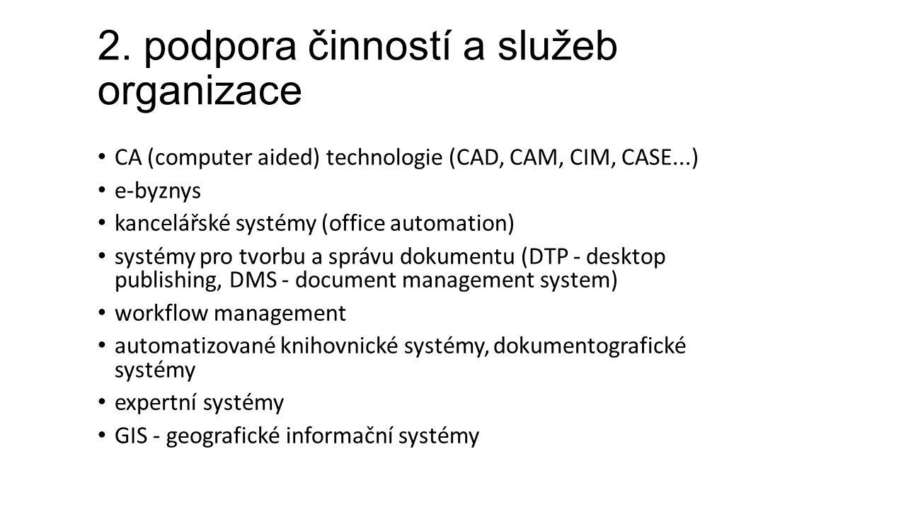 2. podpora činností a služeb organizace CA (computer aided) technologie (CAD, CAM, CIM, CASE...) e-byznys kancelářské systémy (office automation) syst