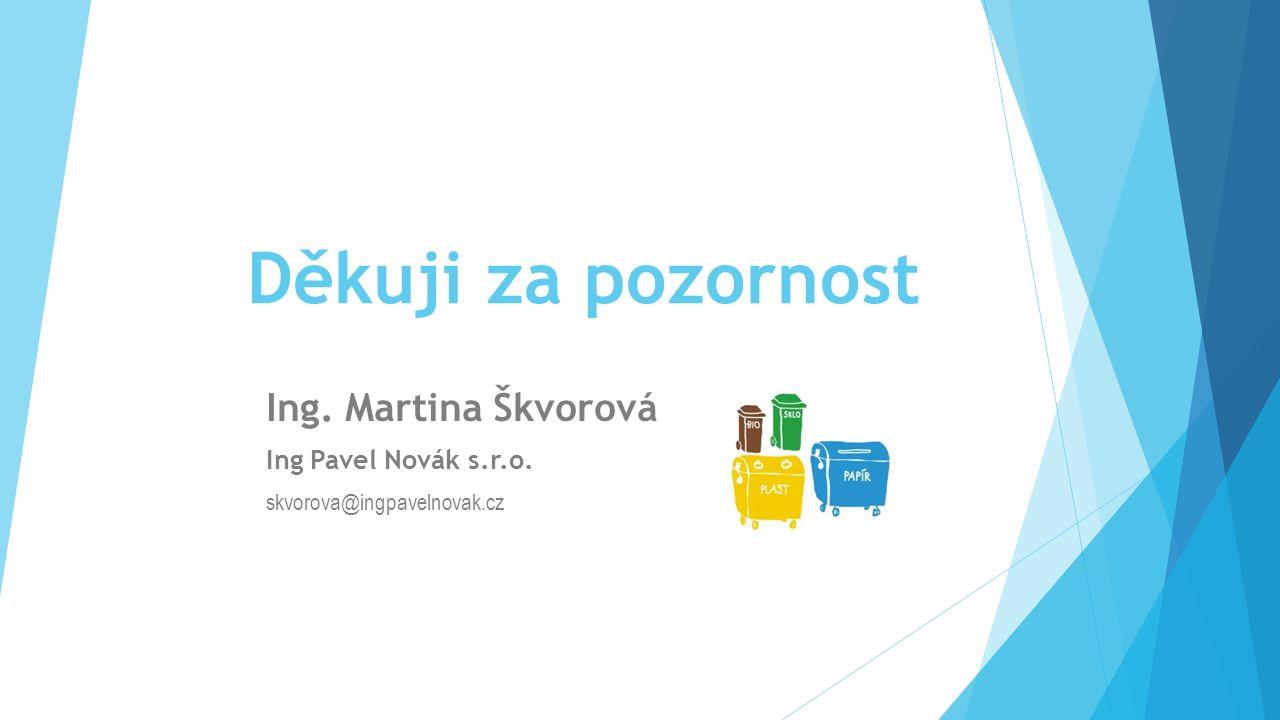 Děkuji za pozornost Ing. Martina Škvorová Ing Pavel Novák s.r.o. skvorova@ingpavelnovak.cz
