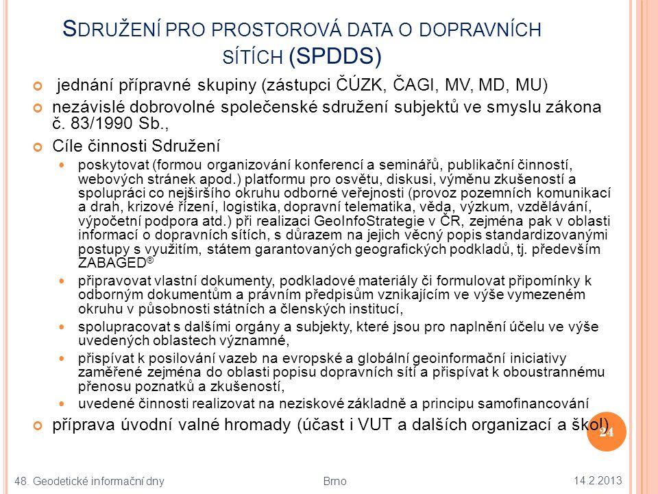 S DRUŽENÍ PRO PROSTOROVÁ DATA O DOPRAVNÍCH SÍTÍCH (SPDDS) jednání přípravné skupiny (zástupci ČÚZK, ČAGI, MV, MD, MU) nezávislé dobrovolné společenské