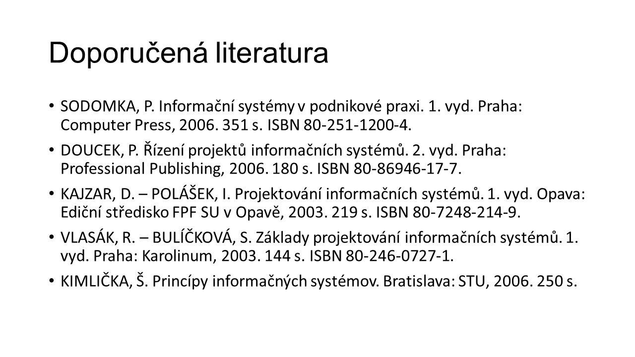 Doporučená literatura SODOMKA, P. Informační systémy v podnikové praxi.
