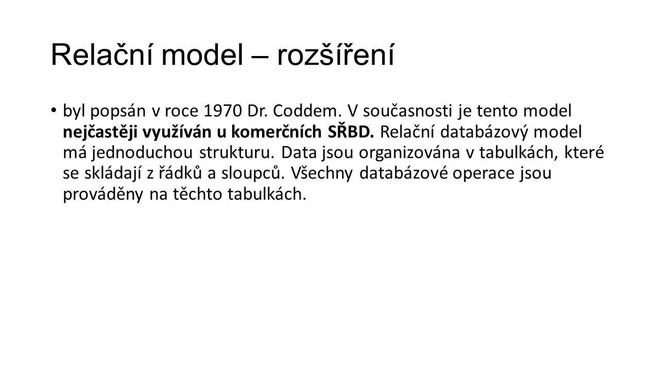 Relační model – rozšíření byl popsán v roce 1970 Dr.