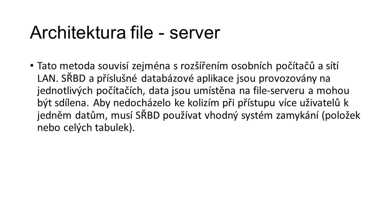 Architektura file - server Tato metoda souvisí zejména s rozšířením osobních počítačů a sítí LAN.