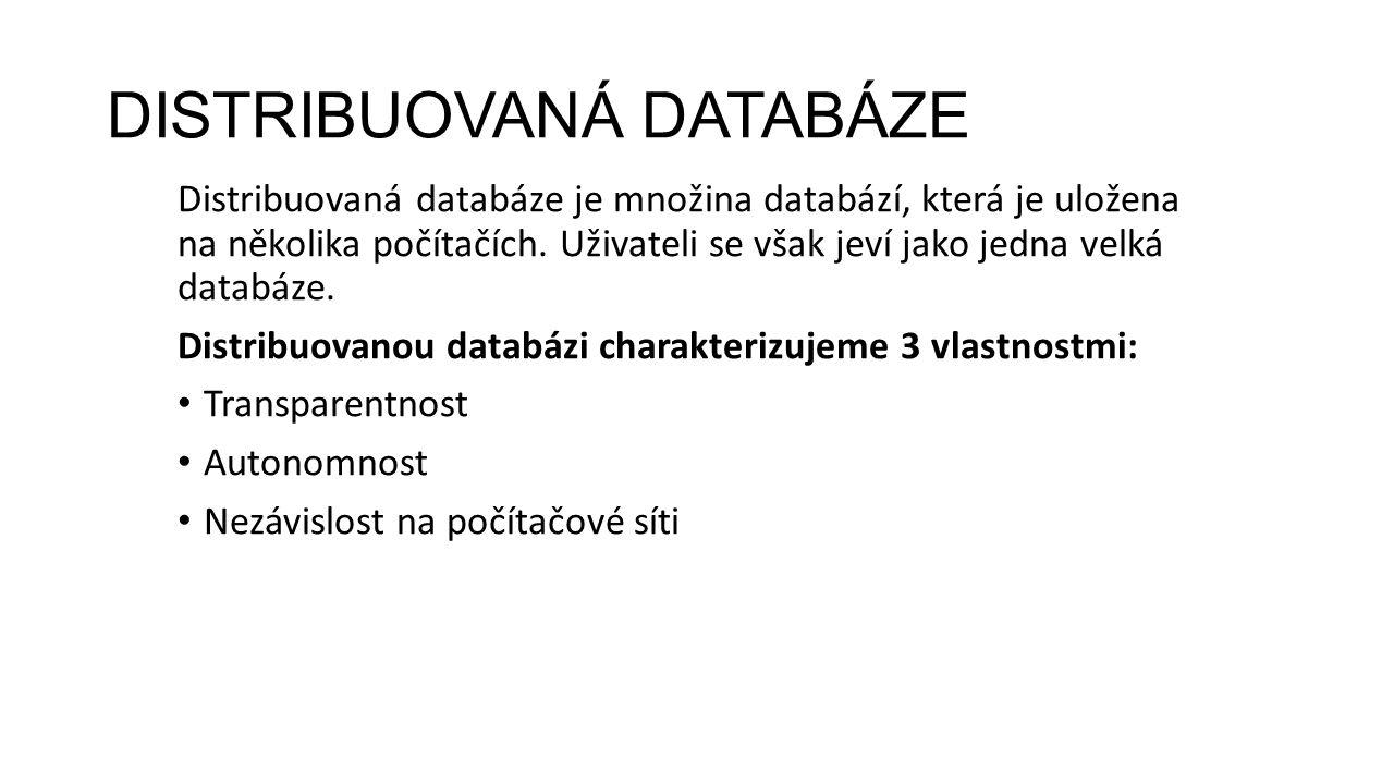 DISTRIBUOVANÁ DATABÁZE Distribuovaná databáze je množina databází, která je uložena na několika počítačích.