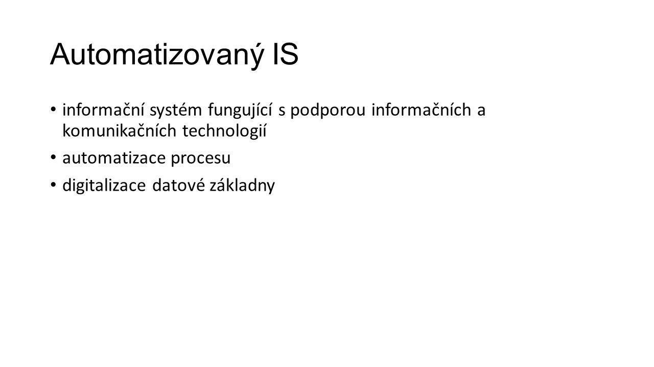 Automatizovaný IS informační systém fungující s podporou informačních a komunikačních technologií automatizace procesu digitalizace datové základny