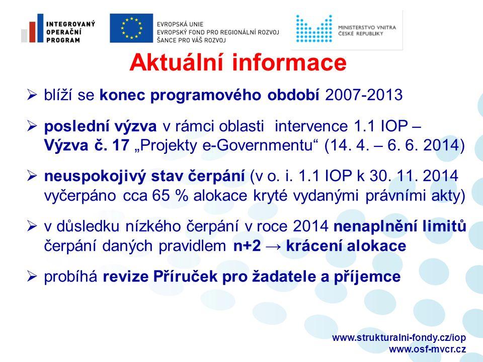www.strukturalni-fondy.cz/iop www.osf-mvcr.cz Aktuální informace  blíží se konec programového období 2007-2013  poslední výzva v rámci oblasti intervence 1.1 IOP – Výzva č.