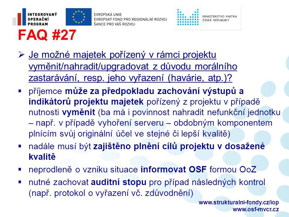 FAQ #27  Je možné majetek pořízený v rámci projektu vyměnit/nahradit/upgradovat z důvodu morálního zastarávání, resp. jeho vyřazení (havárie, atp.)?