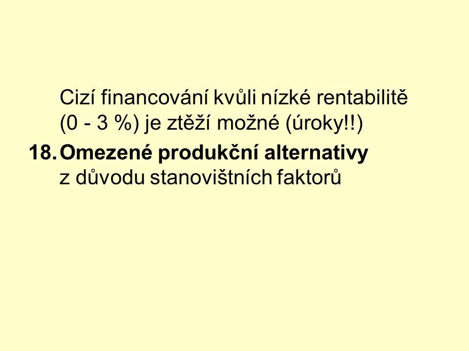 Cizí financování kvůli nízké rentabilitě (0 - 3 %) je ztěží možné (úroky!!) 18.Omezené produkční alternativy z důvodu stanovištních faktorů