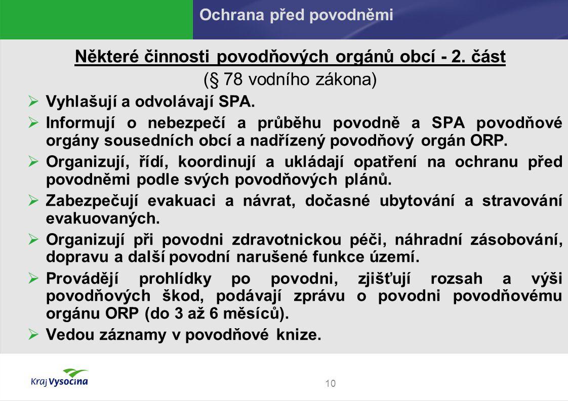 10 Některé činnosti povodňových orgánů obcí - 2.
