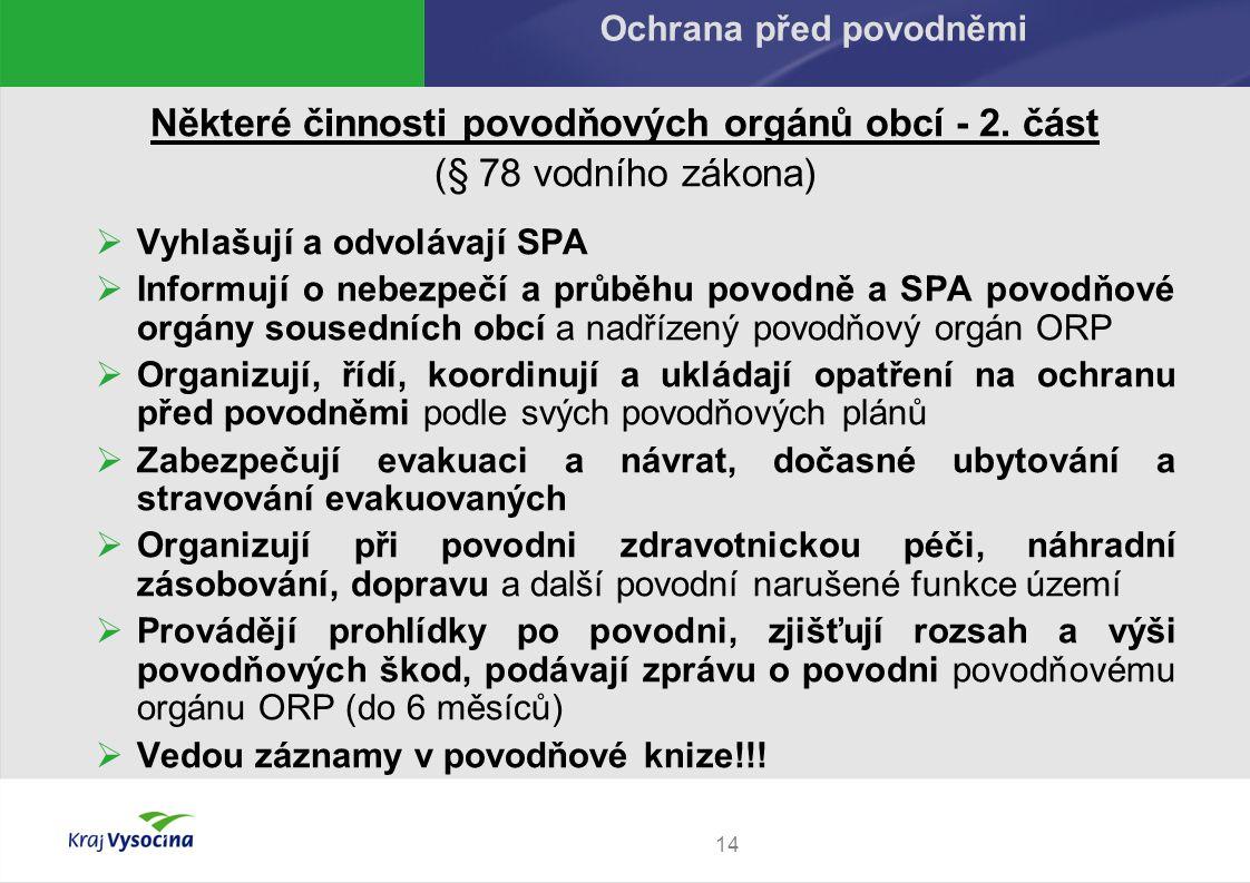 Některé činnosti povodňových orgánů obcí - 2.