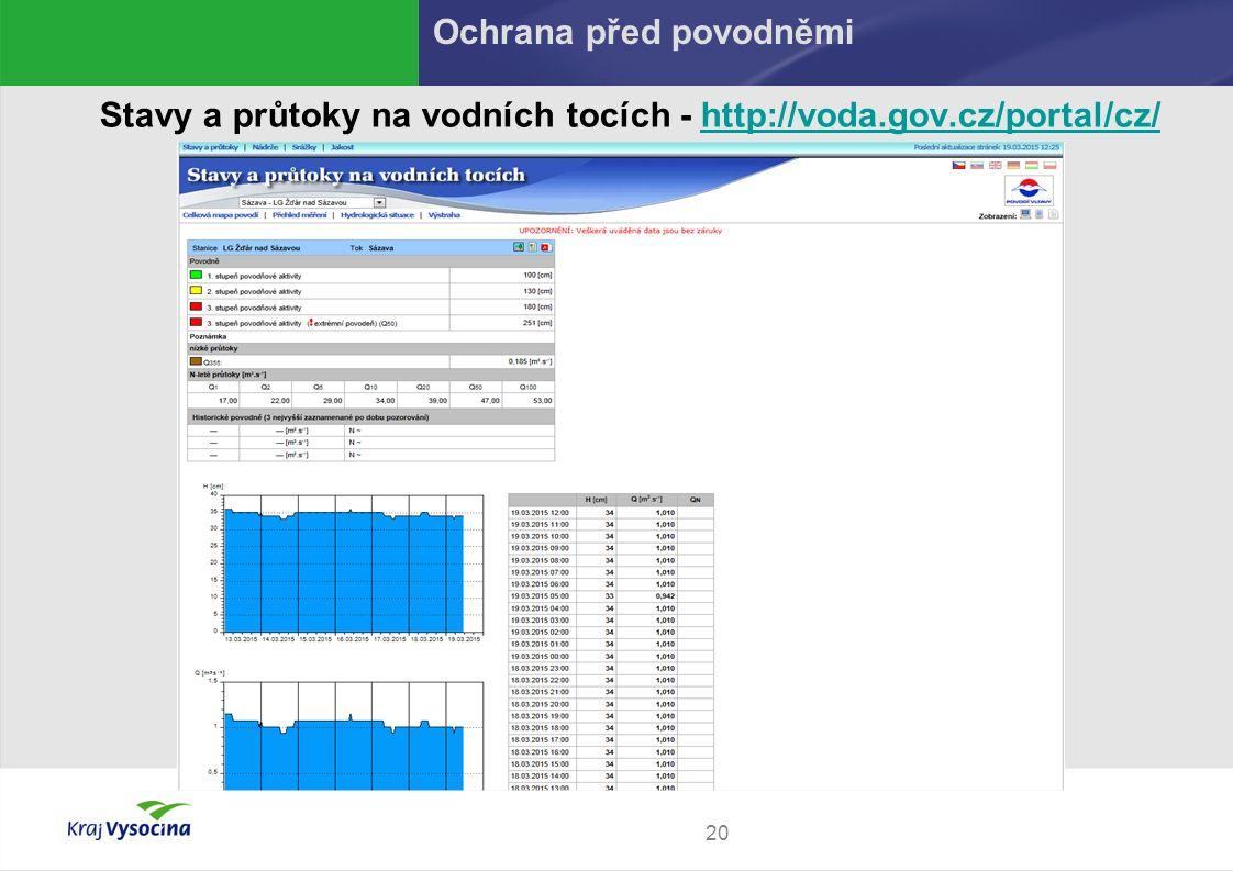 20 Stavy a průtoky na vodních tocích - http://voda.gov.cz/portal/cz/http://voda.gov.cz/portal/cz/ Ochrana před povodněmi