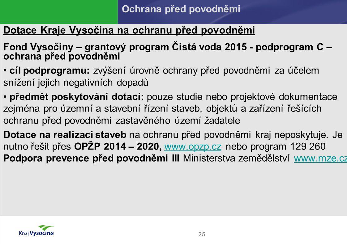 25 Dotace Kraje Vysočina na ochranu před povodněmi Fond Vysočiny – grantový program Čistá voda 2015 - podprogram C – ochrana před povodněmi cíl podpro