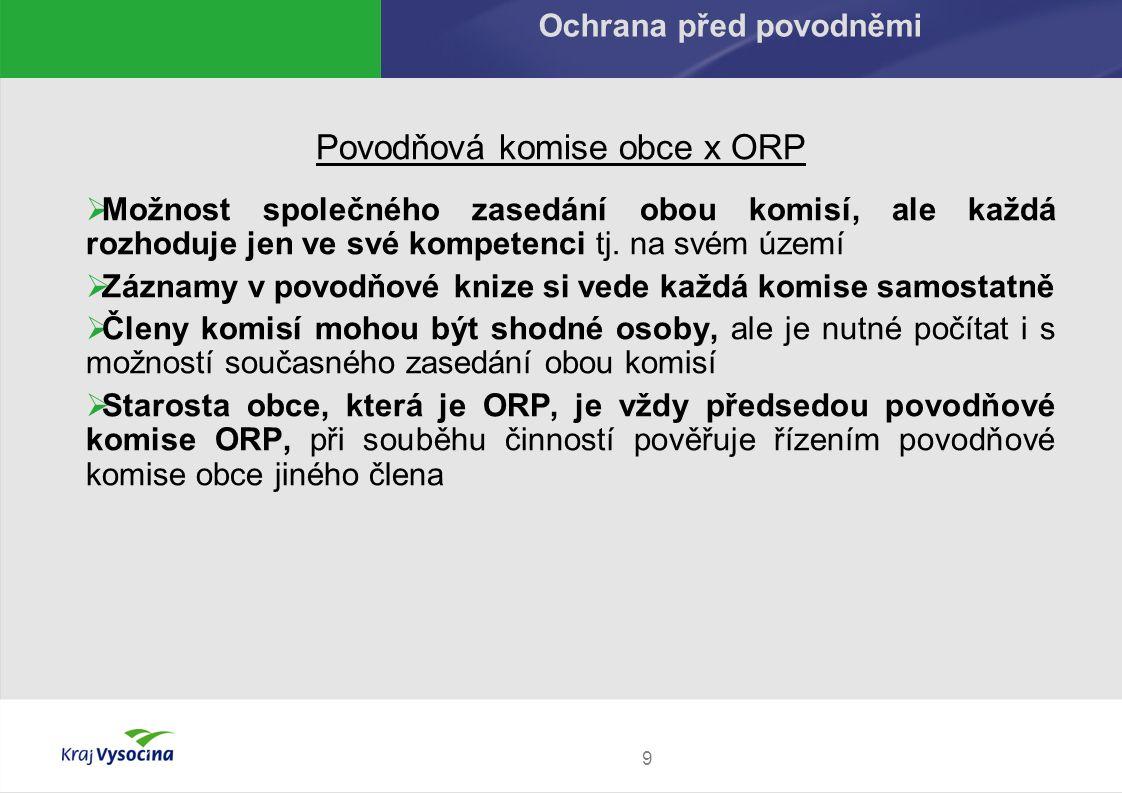 Povodňová komise obce x ORP  Možnost společného zasedání obou komisí, ale každá rozhoduje jen ve své kompetenci tj. na svém území  Záznamy v povodňo