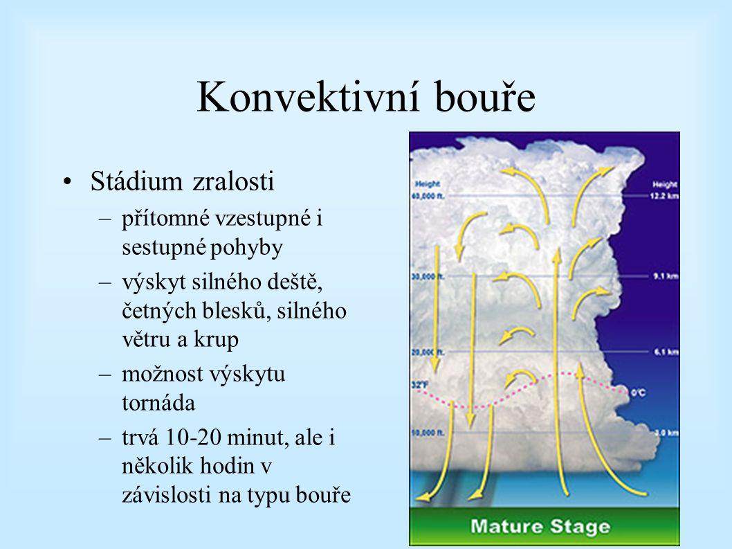 Konvektivní bouře Stádium zralosti –přítomné vzestupné i sestupné pohyby –výskyt silného deště, četných blesků, silného větru a krup –možnost výskytu tornáda –trvá 10-20 minut, ale i několik hodin v závislosti na typu bouře