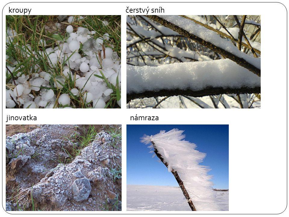 kroupy čerstvý sníh jinovatka námraza