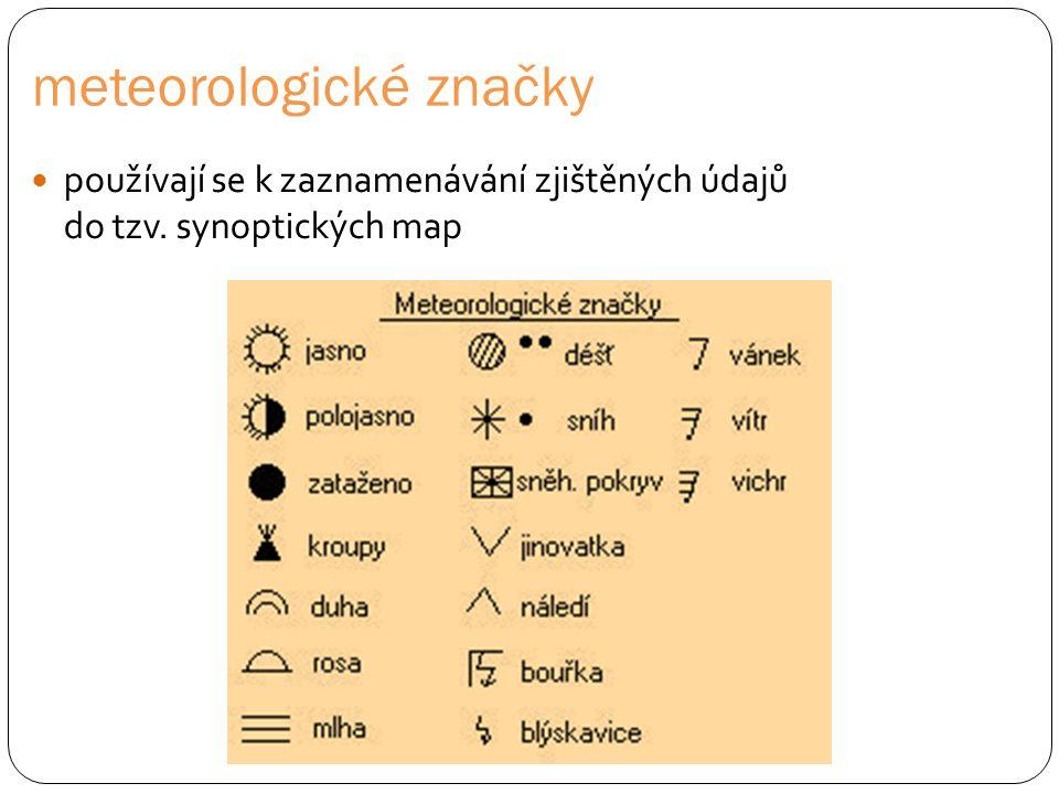 meteorologické značky používají se k zaznamenávání zjištěných údajů do tzv. synoptických map