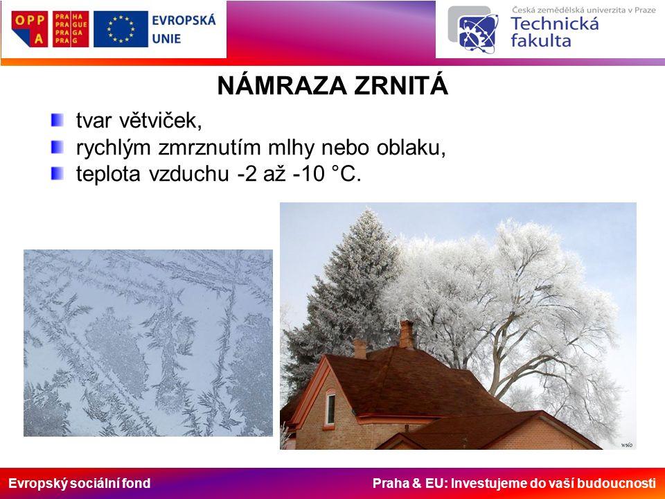 Evropský sociální fond Praha & EU: Investujeme do vaší budoucnosti NÁMRAZA ZRNITÁ tvar větviček, rychlým zmrznutím mlhy nebo oblaku, teplota vzduchu -2 až -10 °C.