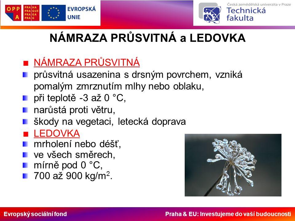 Evropský sociální fond Praha & EU: Investujeme do vaší budoucnosti NÁMRAZA PRŮSVITNÁ a LEDOVKA NÁMRAZA PRŮSVITNÁ průsvitná usazenina s drsným povrchem, vzniká pomalým zmrznutím mlhy nebo oblaku, při teplotě -3 až 0 °C, narůstá proti větru, škody na vegetaci, letecká doprava LEDOVKA mrholení nebo déšť, ve všech směrech, mírně pod 0 °C, 700 až 900 kg/m 2.