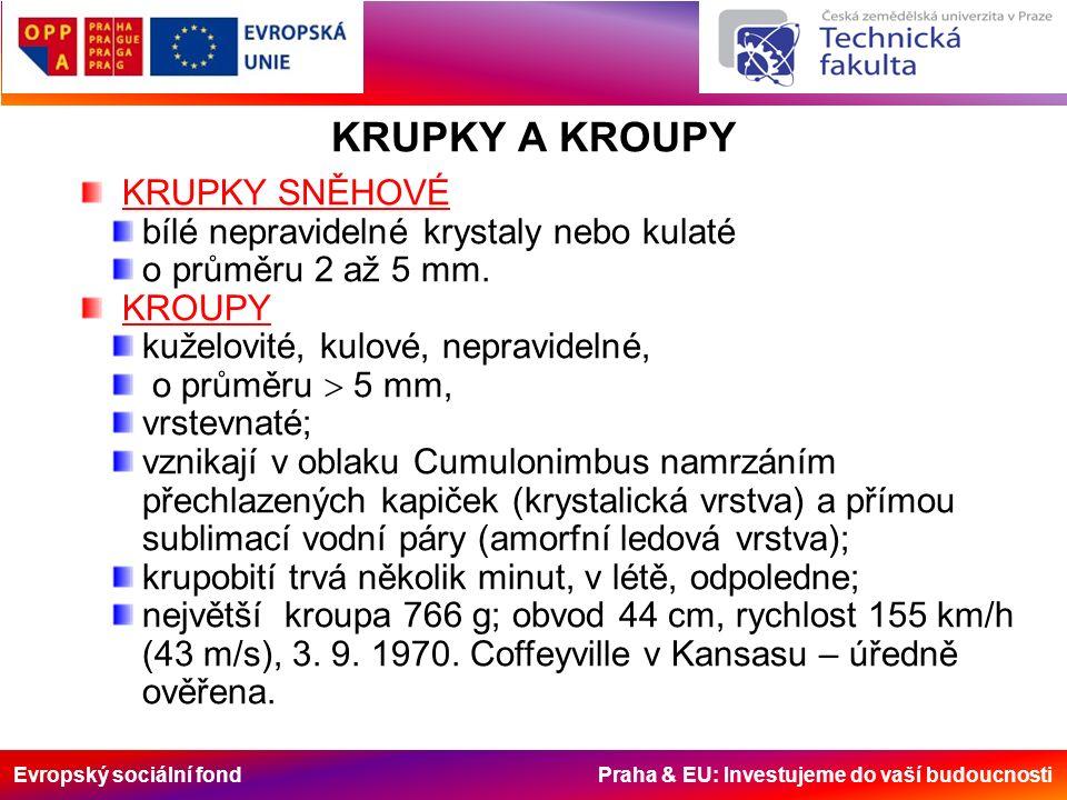 Evropský sociální fond Praha & EU: Investujeme do vaší budoucnosti KRUPKY A KROUPY KRUPKY SNĚHOVÉ bílé nepravidelné krystaly nebo kulaté o průměru 2 až 5 mm.
