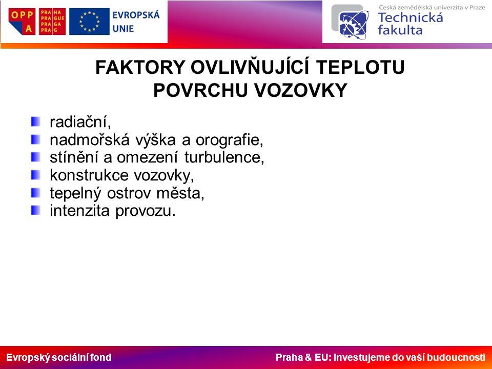 Evropský sociální fond Praha & EU: Investujeme do vaší budoucnosti radiační, nadmořská výška a orografie, stínění a omezení turbulence, konstrukce vozovky, tepelný ostrov města, intenzita provozu.