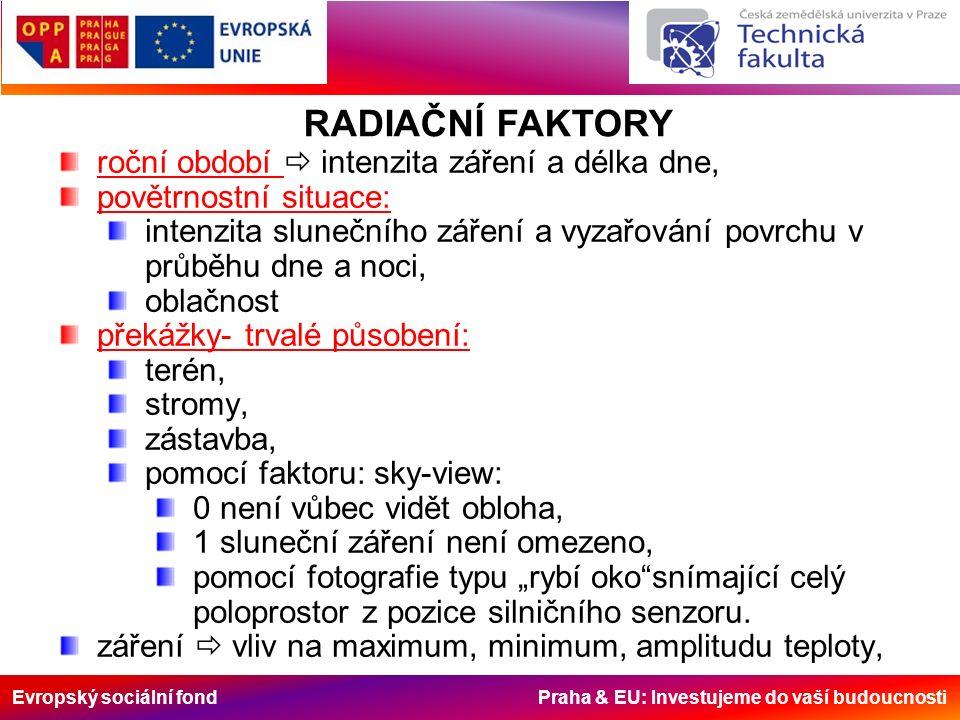 """Evropský sociální fond Praha & EU: Investujeme do vaší budoucnosti roční období  intenzita záření a délka dne, povětrnostní situace: intenzita slunečního záření a vyzařování povrchu v průběhu dne a noci, oblačnost překážky- trvalé působení: terén, stromy, zástavba, pomocí faktoru: sky-view: 0 není vůbec vidět obloha, 1 sluneční záření není omezeno, pomocí fotografie typu """"rybí oko snímající celý poloprostor z pozice silničního senzoru."""