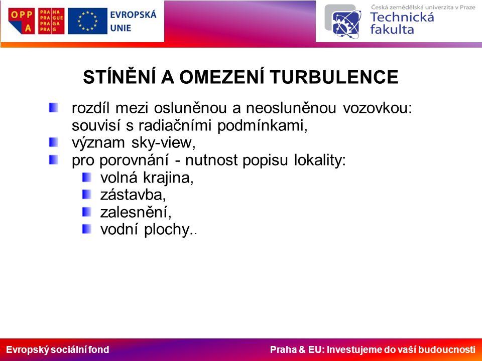 Evropský sociální fond Praha & EU: Investujeme do vaší budoucnosti rozdíl mezi osluněnou a neosluněnou vozovkou: souvisí s radiačními podmínkami, význam sky-view, pro porovnání - nutnost popisu lokality: volná krajina, zástavba, zalesnění, vodní plochy..