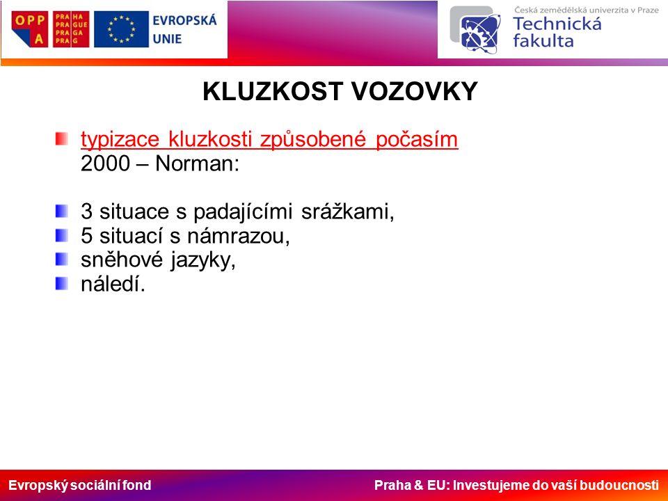 Evropský sociální fond Praha & EU: Investujeme do vaší budoucnosti typizace kluzkosti způsobené počasím 2000 – Norman: 3 situace s padajícími srážkami, 5 situací s námrazou, sněhové jazyky, náledí.