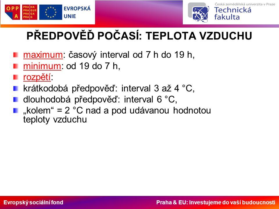 """Evropský sociální fond Praha & EU: Investujeme do vaší budoucnosti PŘEDPOVĚĎ POČASÍ: TEPLOTA VZDUCHU maximum: časový interval od 7 h do 19 h, minimum: od 19 do 7 h, rozpětí: krátkodobá předpověď: interval 3 až 4 °C, dlouhodobá předpověď: interval 6 °C, """"kolem = 2 °C nad a pod udávanou hodnotou teploty vzduchu"""