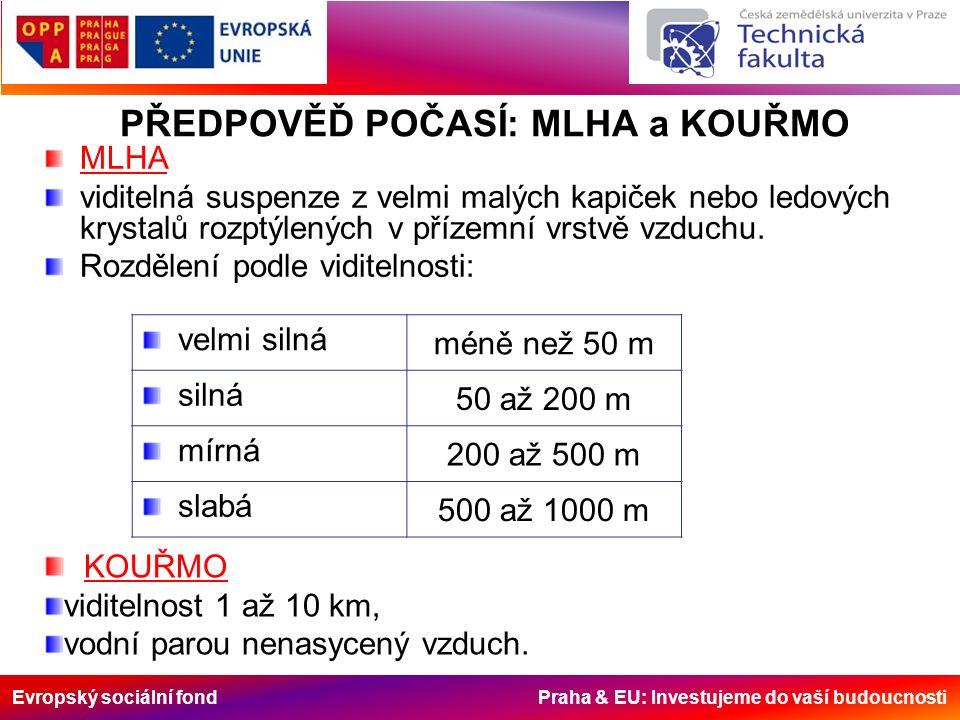 Evropský sociální fond Praha & EU: Investujeme do vaší budoucnosti PŘEDPOVĚĎ POČASÍ: MLHA a KOUŘMO MLHA viditelná suspenze z velmi malých kapiček nebo ledových krystalů rozptýlených v přízemní vrstvě vzduchu.