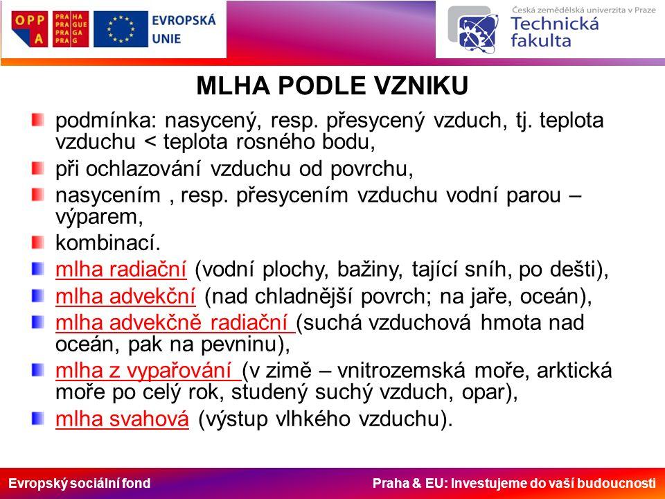 Evropský sociální fond Praha & EU: Investujeme do vaší budoucnosti ATMOSFÉRICKÉ SRÁŽKY produkty kondenzace nebo desublimace vodní páry, které dopadají na zemský povrch nebo na něm vznikají.