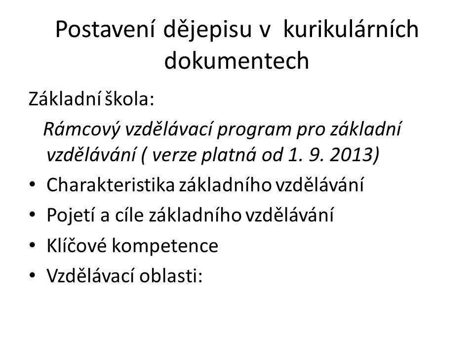 Postavení dějepisu v kurikulárních dokumentech Základní škola: Rámcový vzdělávací program pro základní vzdělávání ( verze platná od 1. 9. 2013) Charak