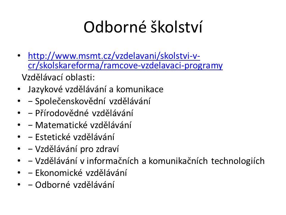 Odborné školství http://www.msmt.cz/vzdelavani/skolstvi-v- cr/skolskareforma/ramcove-vzdelavaci-programy http://www.msmt.cz/vzdelavani/skolstvi-v- cr/skolskareforma/ramcove-vzdelavaci-programy Vzdělávací oblasti: Jazykové vzdělávání a komunikace − Společenskovědní vzdělávání − Přírodovědné vzdělávání − Matematické vzdělávání − Estetické vzdělávání − Vzdělávání pro zdraví − Vzdělávání v informačních a komunikačních technologiích − Ekonomické vzdělávání − Odborné vzdělávání