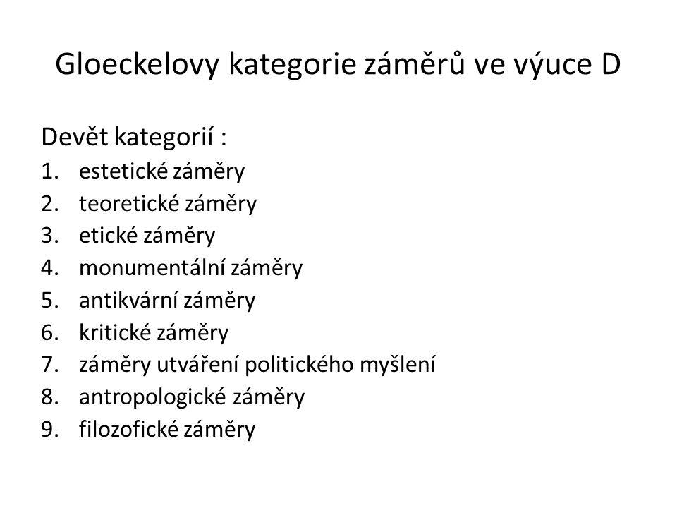 Gloeckelovy kategorie záměrů ve výuce D Devět kategorií : 1.estetické záměry 2.teoretické záměry 3.etické záměry 4.monumentální záměry 5.antikvární zá