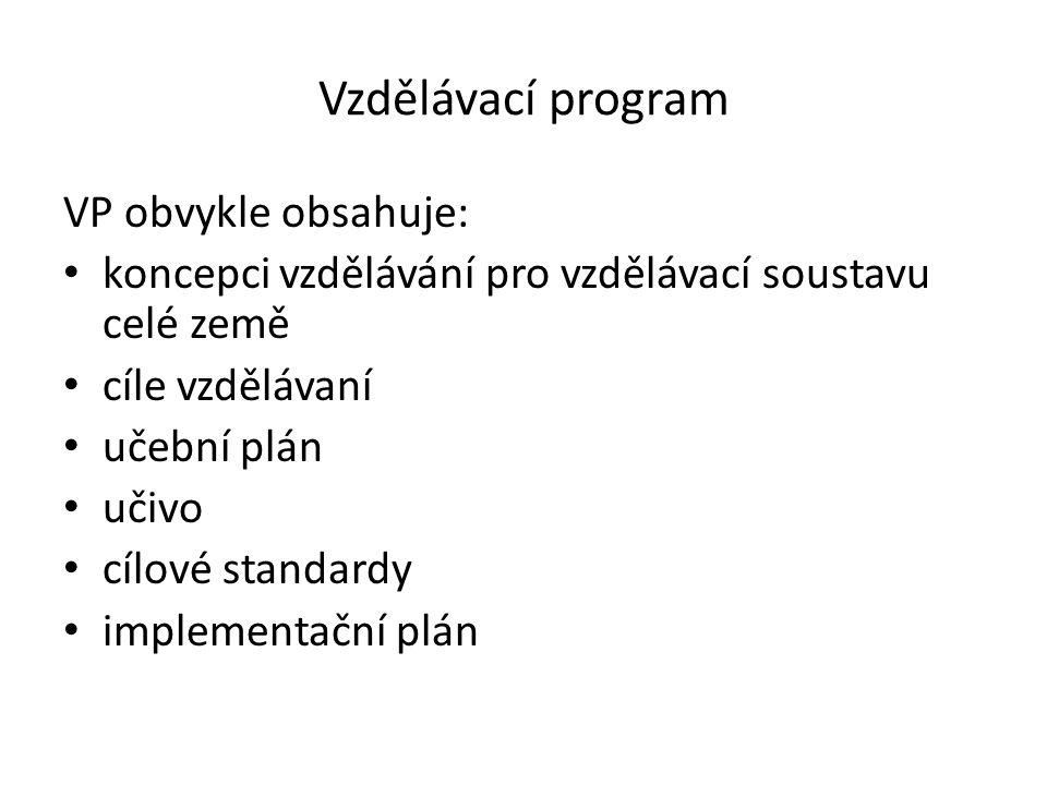 Vzdělávací program VP obvykle obsahuje: koncepci vzdělávání pro vzdělávací soustavu celé země cíle vzdělávaní učební plán učivo cílové standardy imple
