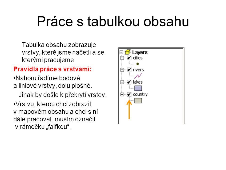 Práce s tabulkou obsahu Tabulka obsahu zobrazuje vrstvy, které jsme načetli a se kterými pracujeme. Pravidla práce s vrstvami: Nahoru řadíme bodové a