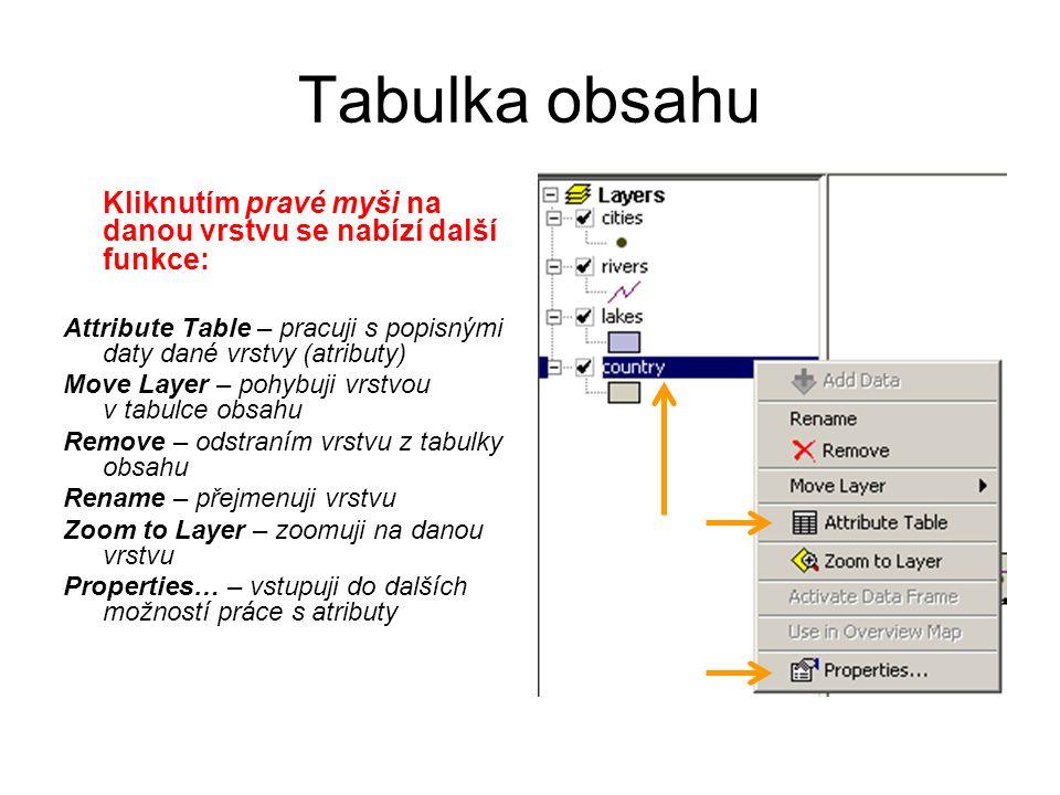 Tabulka obsahu Kliknutím pravé myši na danou vrstvu se nabízí další funkce: Attribute Table – pracuji s popisnými daty dané vrstvy (atributy) Move Lay