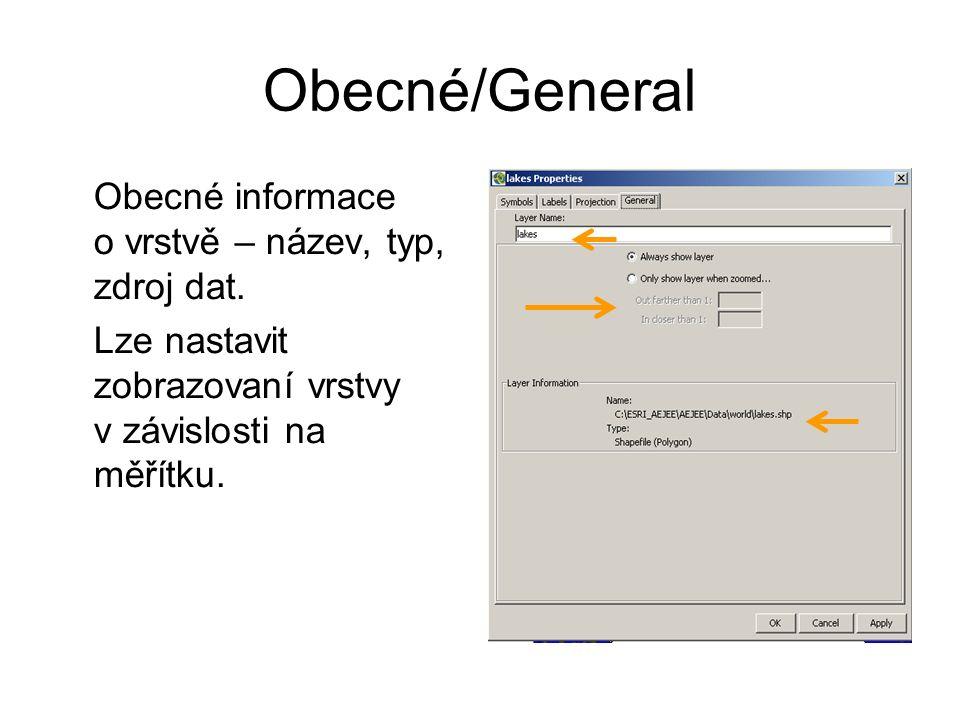Obecné/General Obecné informace o vrstvě – název, typ, zdroj dat. Lze nastavit zobrazovaní vrstvy v závislosti na měřítku.