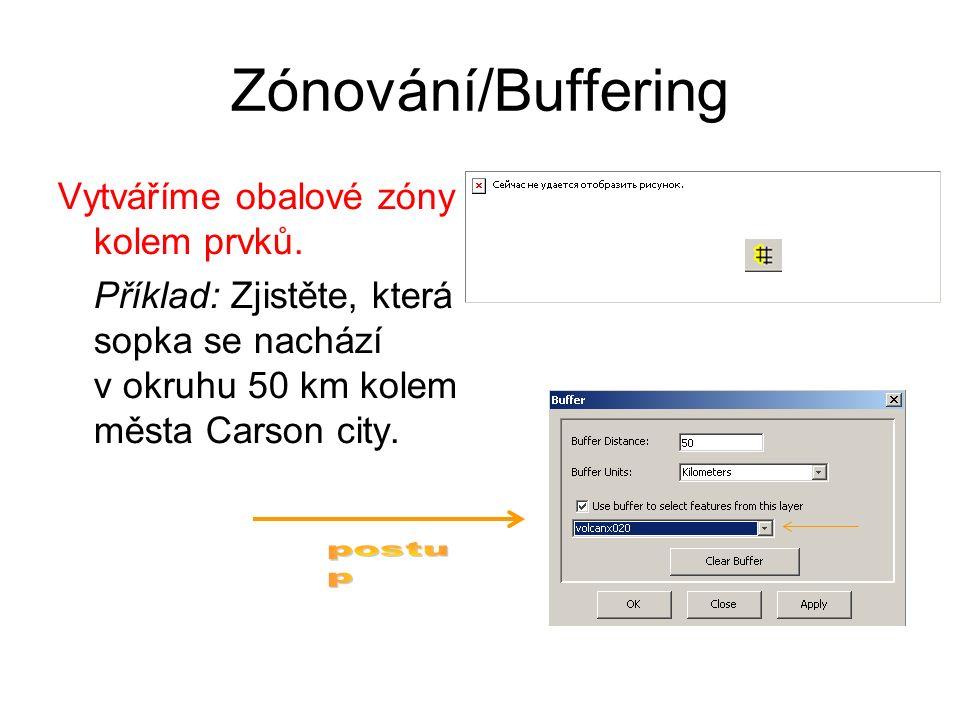 Zónování/Buffering Vytváříme obalové zóny kolem prvků. Příklad: Zjistěte, která sopka se nachází v okruhu 50 km kolem města Carson city.