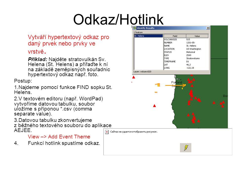 Odkaz/Hotlink Vytváří hypertextový odkaz pro daný prvek nebo prvky ve vrstvě. Příklad: Najděte stratovulkán Sv. Helena (St. Helens) a přiřaďte k ní na
