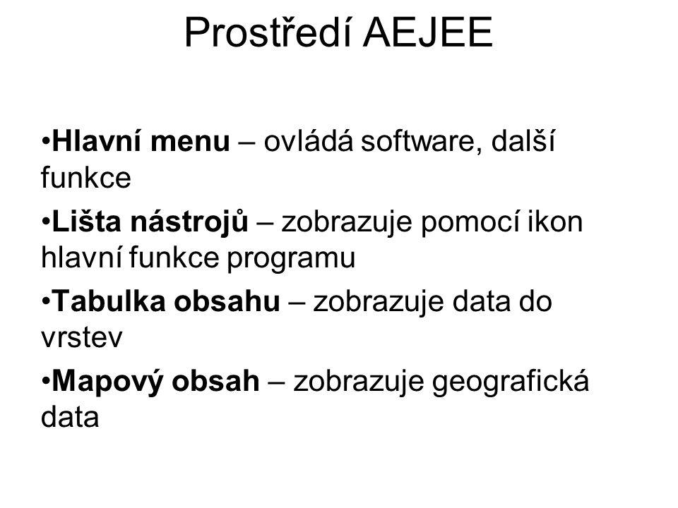 Prostředí AEJEE Hlavní menu – ovládá software, další funkce Lišta nástrojů – zobrazuje pomocí ikon hlavní funkce programu Tabulka obsahu – zobrazuje d