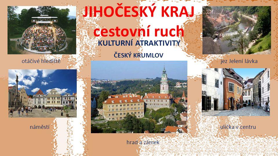 JIHOČESKÝ KRAJ cestovní ruch KULTURNÍ ATRAKTIVITY ČESKÝ KRUMLOV hrad a zámek otáčivé hlediště náměstí jez Jelení lávka ulička v centru