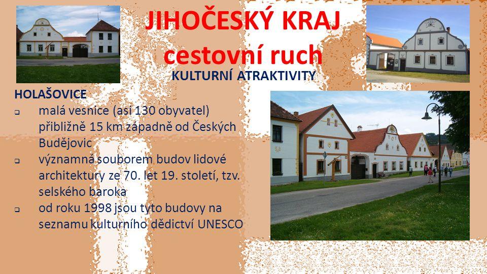JIHOČESKÝ KRAJ cestovní ruch KULTURNÍ ATRAKTIVITY HOLAŠOVICE  malá vesnice (asi 130 obyvatel) přibližně 15 km západně od Českých Budějovic  významná souborem budov lidové architektury ze 70.