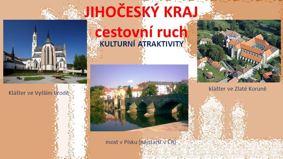 JIHOČESKÝ KRAJ cestovní ruch KULTURNÍ ATRAKTIVITY most v Písku (nejstarší v ČR) klášter ve Zlaté Koruně Klášter ve Vyšším Brodě