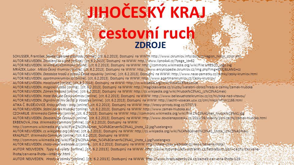 JIHOČESKÝ KRAJ cestovní ruch ZDROJE SCHUSSER, František.