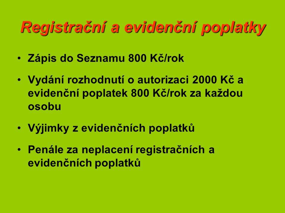 Registrační a evidenční poplatky Zápis do Seznamu 800 Kč/rok Vydání rozhodnutí o autorizaci 2000 Kč a evidenční poplatek 800 Kč/rok za každou osobu Vý