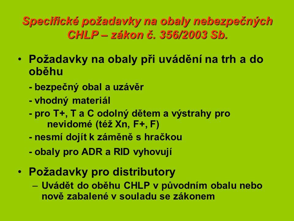 Specifické požadavky na obaly nebezpečných CHLP – zákon č.