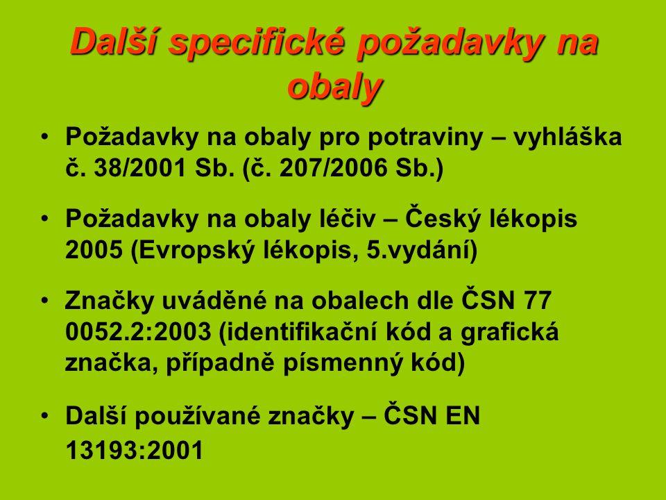 Další specifické požadavky na obaly Požadavky na obaly pro potraviny – vyhláška č. 38/2001 Sb. (č. 207/2006 Sb.) Požadavky na obaly léčiv – Český léko