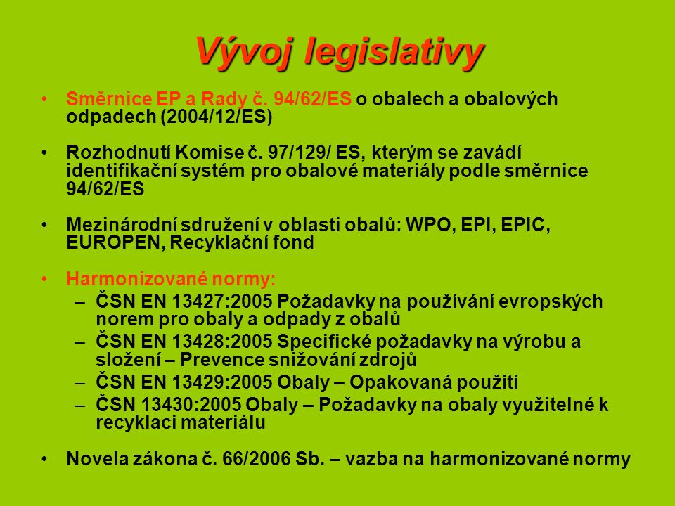 Vývoj legislativy Směrnice EP a Rady č. 94/62/ES o obalech a obalových odpadech (2004/12/ES) Rozhodnutí Komise č. 97/129/ ES, kterým se zavádí identif