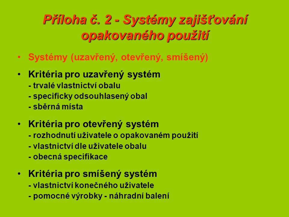 Příloha č. 2 - Systémy zajišťování opakovaného použití Systémy (uzavřený, otevřený, smíšený) Kritéria pro uzavřený systém - trvalé vlastnictví obalu -