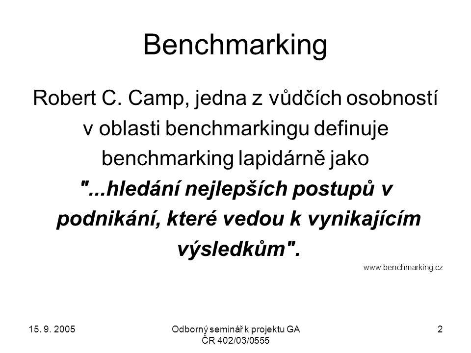 15. 9. 2005Odborný seminář k projektu GA ČR 402/03/0555 2 Benchmarking Robert C. Camp, jedna z vůdčích osobností v oblasti benchmarkingu definuje benc